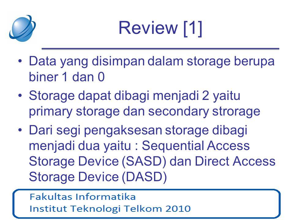 Review [1] Data yang disimpan dalam storage berupa biner 1 dan 0